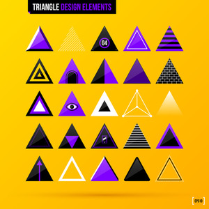 Collection Of Triangle Design Elements On Bright Yellow Background. Eps10