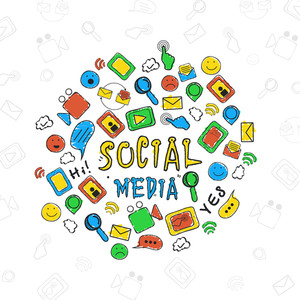 Collection of various colorful social media icons