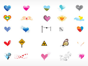 Collection Of Vector Heart Icons