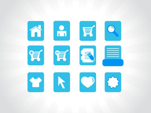 Collection Of Vector Icons On Blue