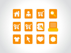 Collection Of Vector Icons On Orange