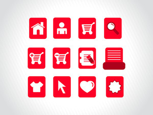 Collection Of Vector Icons On Red