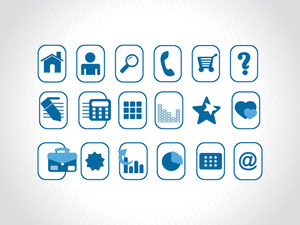 Collection Of Web Icons In Blue