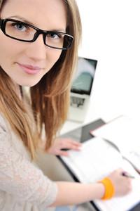 College girl doing homework