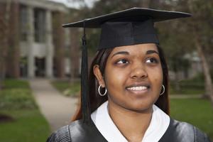 College graduate on campus