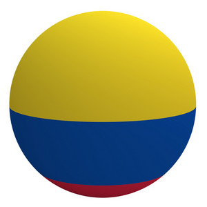 Colombia Flag On The Ball Isolated On White.