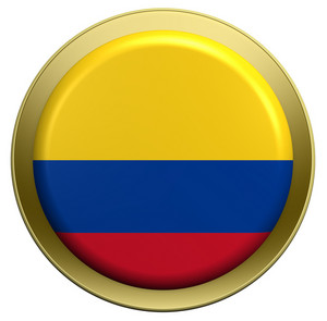 Colombia Flag On The Round Button Isolated On White