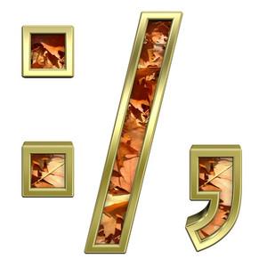Colon, Semicolon, Period, Comma From Autumn Gold Alphabet Set