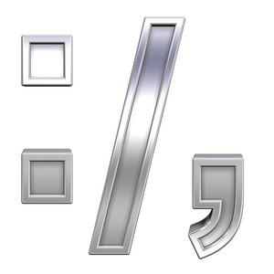 Colon, Semicolon, Period, Comma From Chrome With Frame Alphabet Set