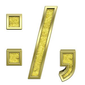 Colon, Semicolon, Period, Comma From Gold Cast Alphabet Set