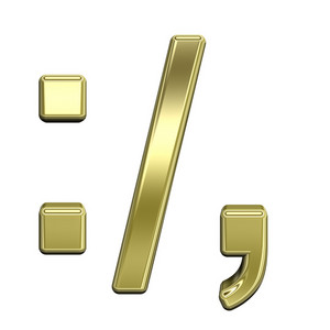 Colon, Semicolon, Period, Comma From Shiny Gold Alphabet Set