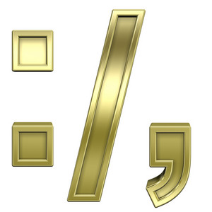 Colon, Semicolon, Period, Comma From Shiny Gold Alphabet Set