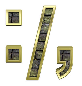 Colon, Semicolon, Period, Comma From Stone With Gold Frame Alphabet