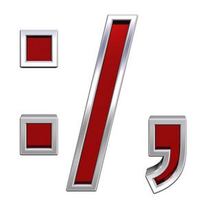 Colon, Semicolon, Period, Comma Sign From Ruby Alphabet Set