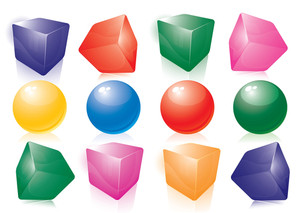 Color Balls And Cubes. Vector.
