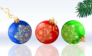 Color Christmas Balloons Decorated With Golden Snowflakes. Vector.