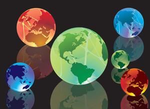 Color Glossy Globes. Vector