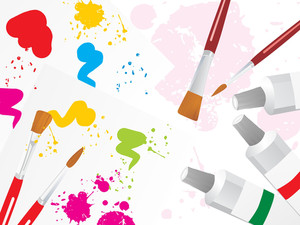 Color Palette Background With Brush And Color Tube