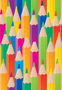 Color Pencils Seamless Bsckground. Vector.