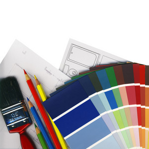 Color Swatches And Plans On White Background Isolated