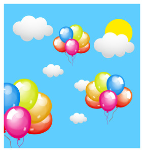 Colored Balloons Flying In Sky