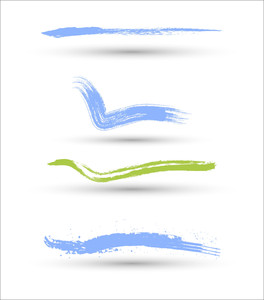 Colored Brush Strokes Vector Set