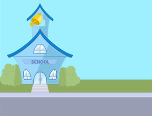 Colored Cartoon School House Drawing