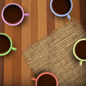 Colored Cup Of Coffee On Wooden Background