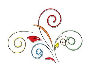Colored Floral Design Element