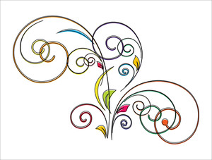 Colored Flourish Element