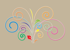 Colored Flourish Shape Vector