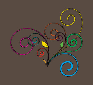 Colored Flourish Vector Shape