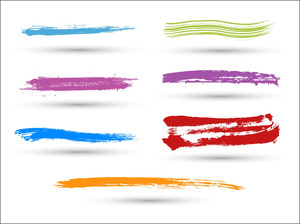 Colored Grunge Strokes Vector Set