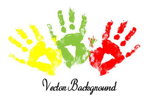 Colored Hand Print Vector Background