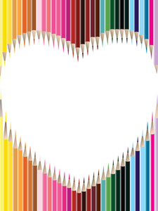 Colored Pencils In Heart Shape On White Background For Valentines Day.