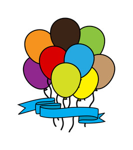 Colored Retro Balloons With Ribbon Banner