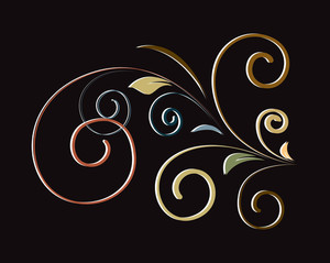 Colored Retro Flourish Shape