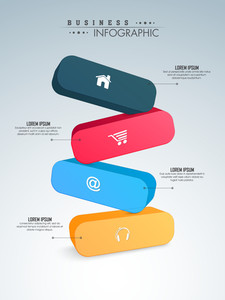 Colorful 3D infographic elements  with web symbols