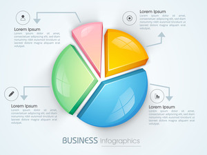 Colorful 3D pie chart Infographic element for your Business reports and financial growth presentation.
