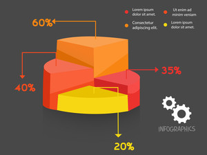Colorful 3D statistical graph on grey background for Business reports and financial growth presentation.