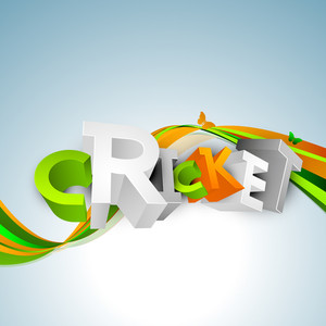 Colorful 3d Text Cricket On Colorful Waves Background.