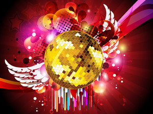 Colorful Abstract Musical Background With  Disco Ball Eps 10