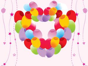 Colorful Balloon Heart Shape