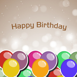 Colorful Balloons And Text Happy Birthday On Shiny Background For Birthday Party Celebration