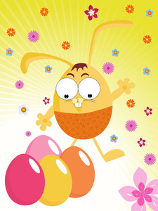 Colorful Bloom Background With Eggs