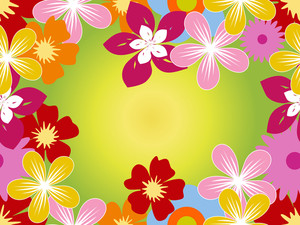 Colorful Blossoms With Background