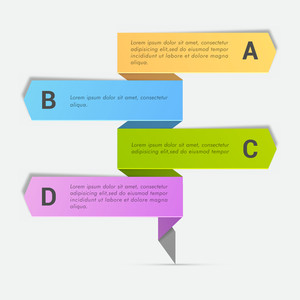 Colorful Business Infographic arrows with alphabets on grey background.
