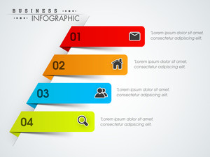 Colorful business infographics stripes with web icons on grey background.