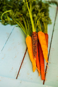 Colorful Carrots On Rustic Wooden Background