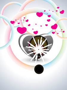 Colorful Circle Background With Romantic Frame